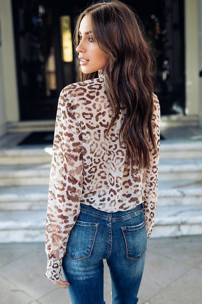 Sexy Leopard High-Neck Tie-Front Blouse-[variant_title]-looksinn