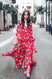 Chic Belted Printing Maxi Dress-S / Red-looksinn