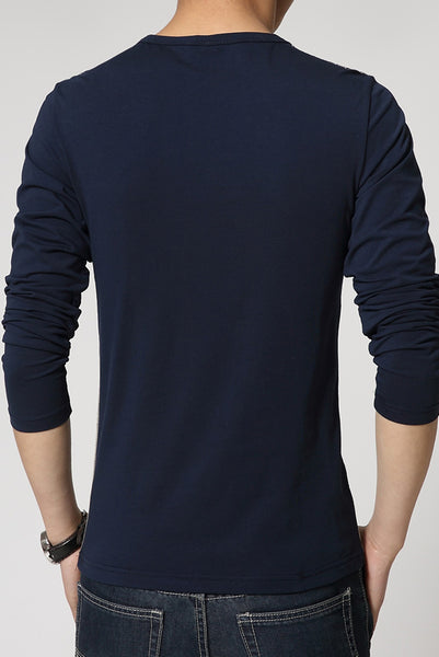 Casual Color Block Buttoned Round Neck Men's Tee-[variant_title]-looksinn