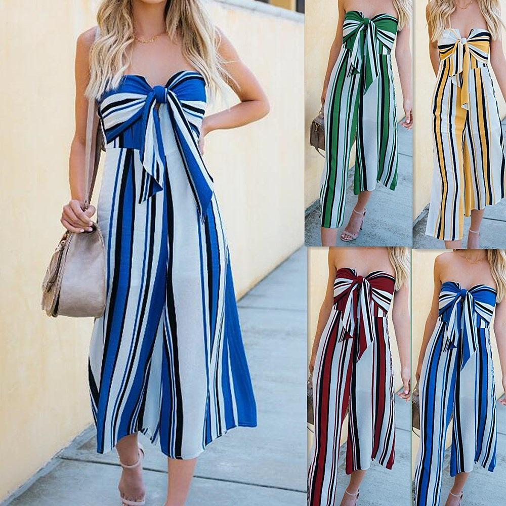 Stylish Colored Stripes Wide-Leg Jumpsuit-S / Red-looksinn