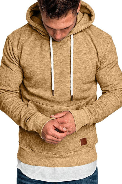 Casual Loose-Fit Pocket Men's Hoodie-S / Khaki-looksinn