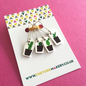 Hand drawn cactus stitch markers
