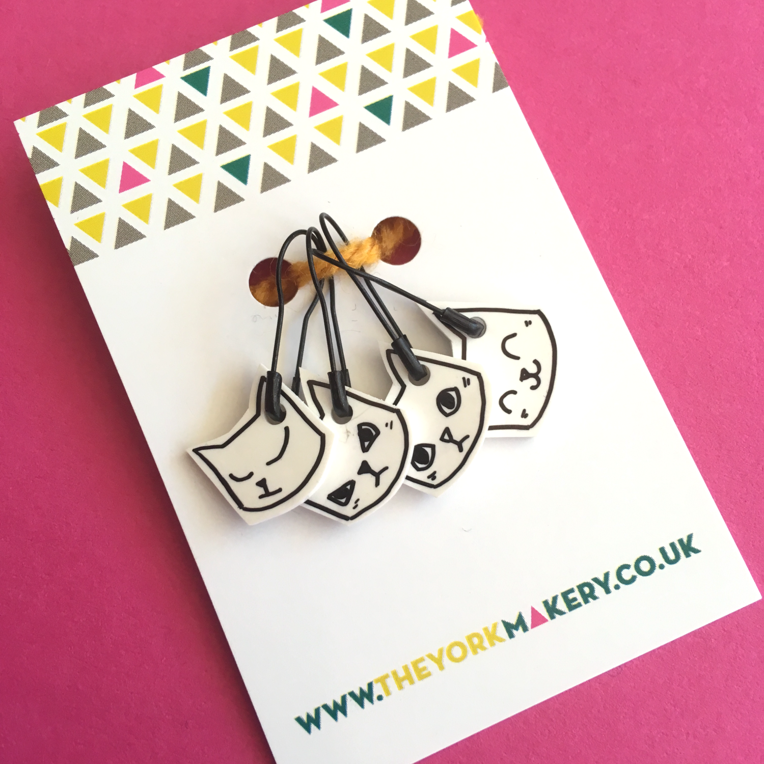 Hand Drawn Stitch Markers - Cats - The York Makery