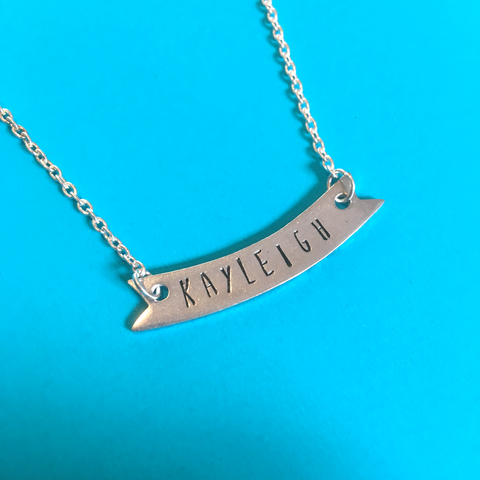Personalised metal stamped banner necklace