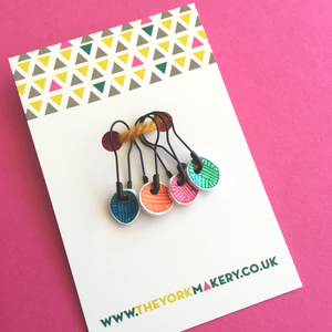Hand Drawn Stitch Markers - Yarn Balls - The York Makery