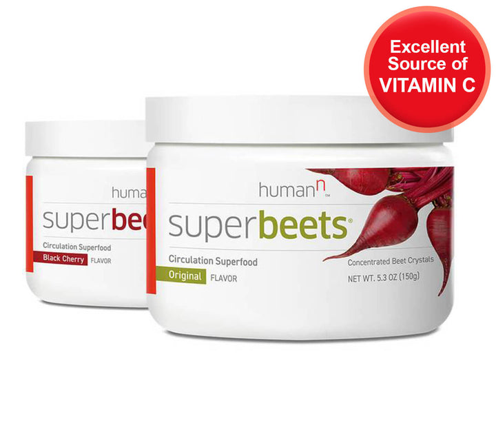 canister of superbeets original and superbeets black cherry