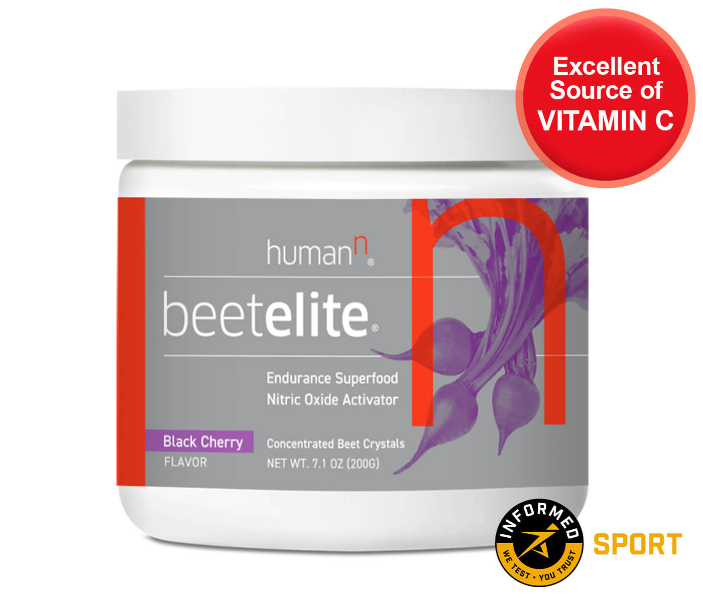 Canister of BeetElite, showing excellent Vitamin C source and Informed SPORT badge