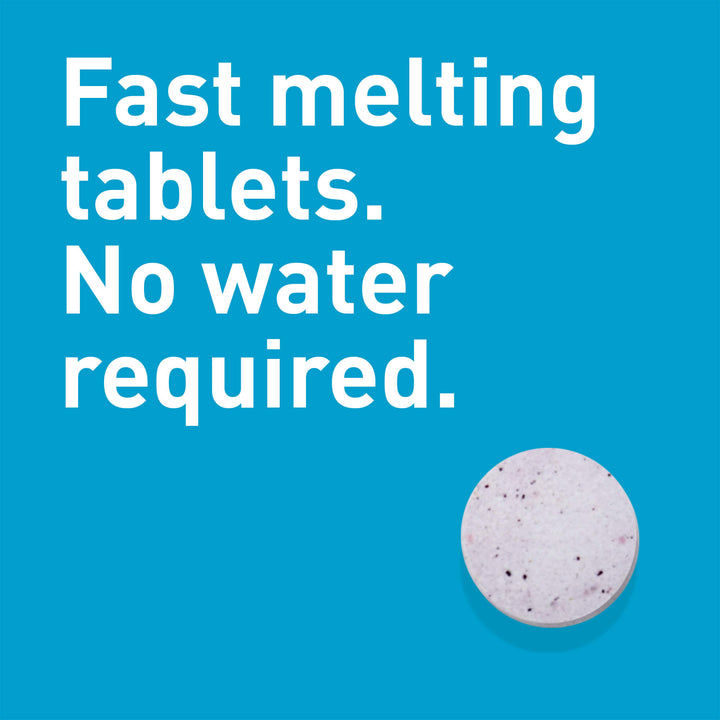 Tablet, fast melting, no water required