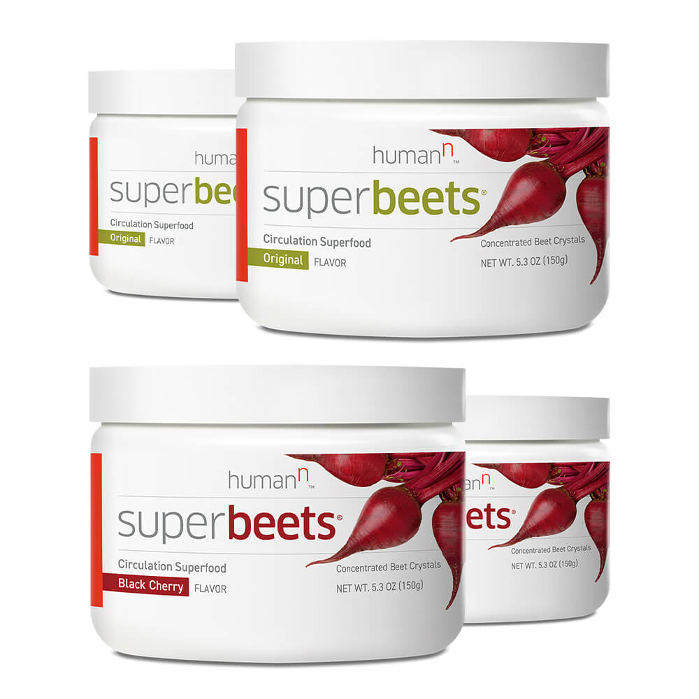 Two canisters of superbeets original and two canisters of superbeets black cherry