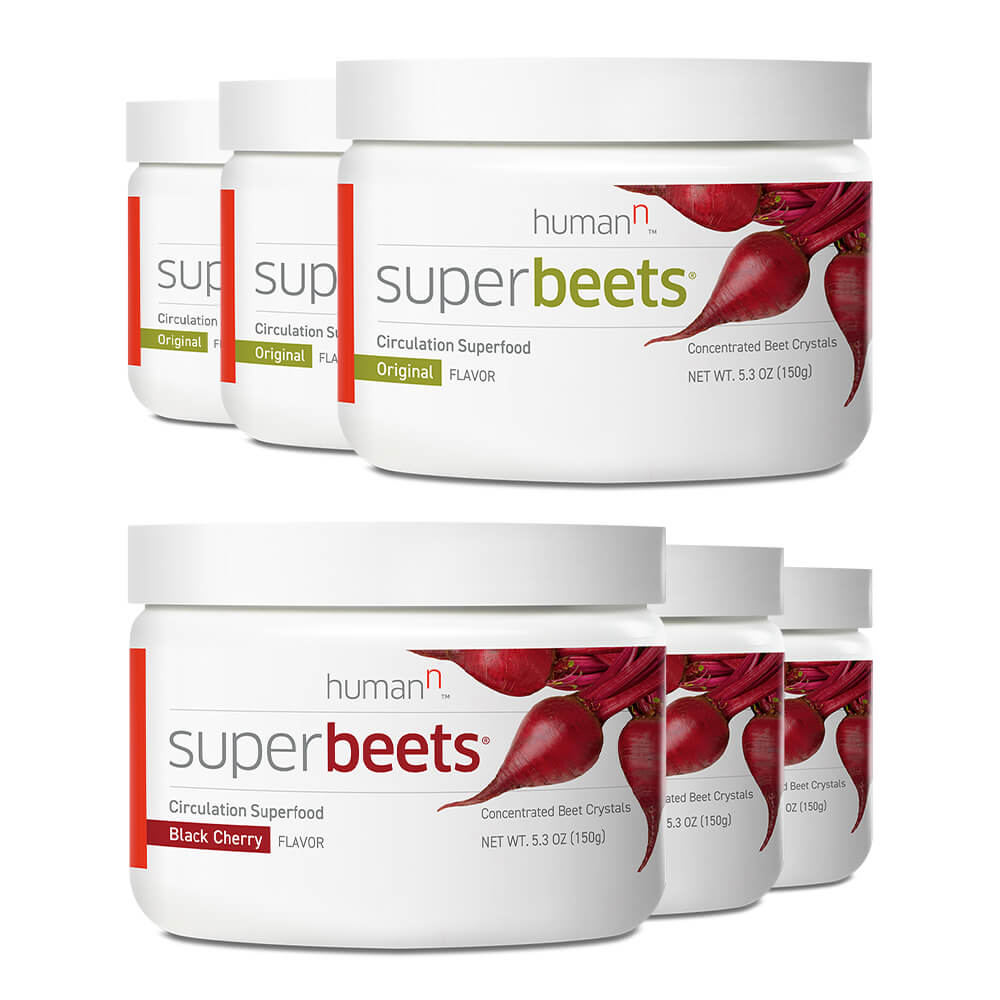 Three canisters of superbeets original and three canisters of superbeets black cherry