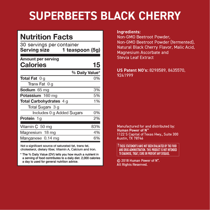 Nutrition facts for superbeets black cherry