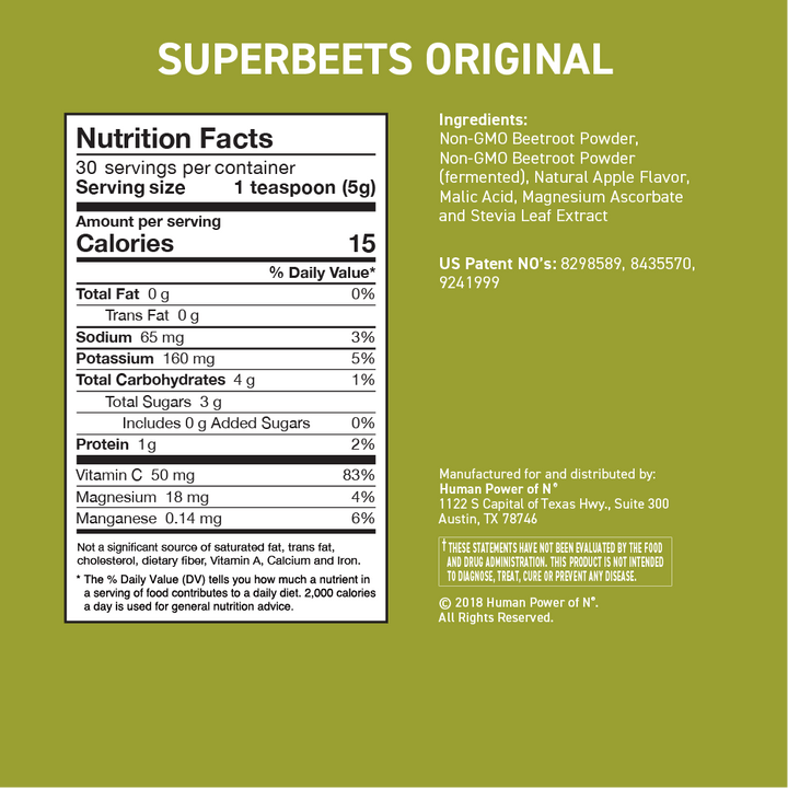 Nutrition facts for superbeets original