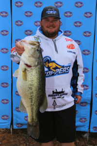 Ty Cox in Cabelas Colleciate Bass Fishing Tournament Blue Mountain College