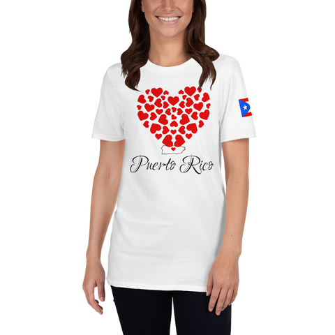Puerto Rico heart with flag sleeve T-Shirt
