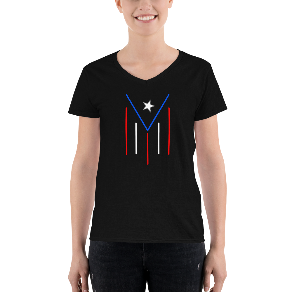 Women's PR modern flag - V-Neck Shirt