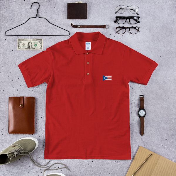 Puerto Rico Flag Embroidered Polo Shirt