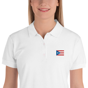 Puerto Rico Flag Embroidered Women's Polo Shirt