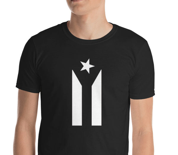black and white puerto rican flag shirt