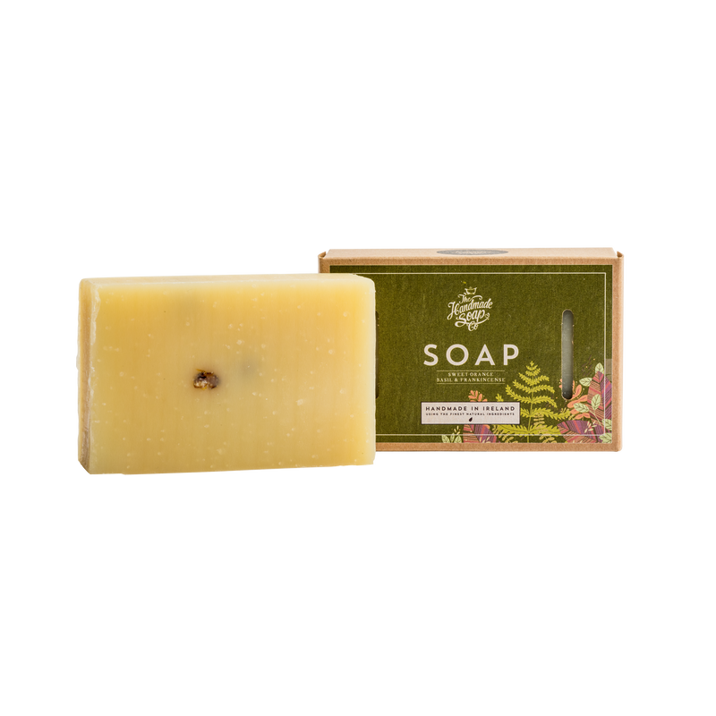 All Natural Environmentally Friendly Handmade Chemical Free Sweet Orange Frankincense Basil Essential Oil Soap