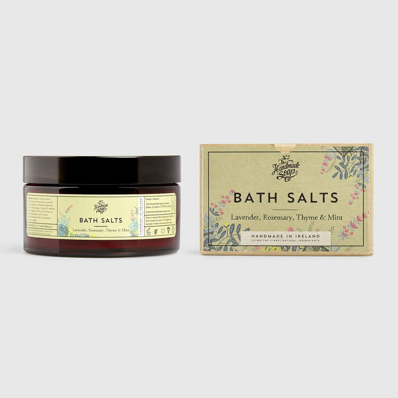 Handmade, Natural, Vegan and Cruelty Free Bath Salts. Epsom salts scented with essential oils. Presented in a glass jar and Gift Box.