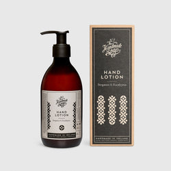 Handmade, Natural, Vegan and Cruelty Free Hand Lotion. Scented with essential oils from Bergamot and Eucalyptus. Bottled in 100% recycled materials & presented in a Gift Box.