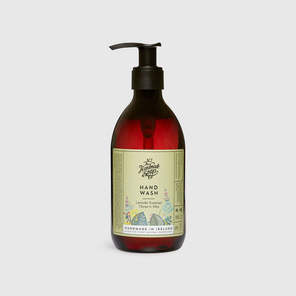 Handmade, Natural, Vegan and Cruelty Free Hand Wash. Scented with essential oils from Lavender, Rosemary, Thyme & Mint. Bottled in 100% recycled materials & presented in a Gift Box.