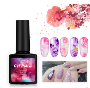 Nail polish, transparent art, amber gradual change, varnish, nail polish, nail polish, DIY nail polish.