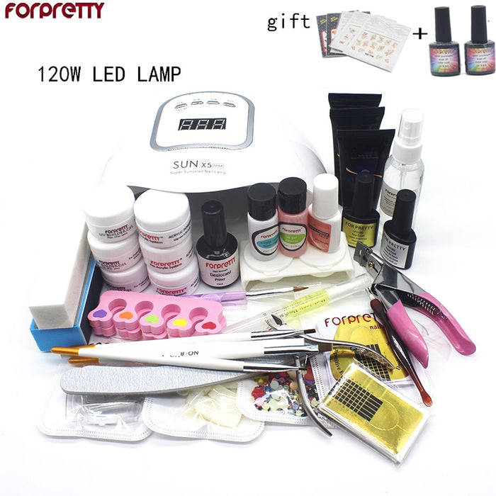 Gel Polish Acrylic Nail Manicure Kit  with Professional LED UV lamp.
