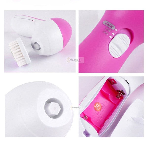 1set  5 in1 Electric Face Cleaner with Brushes