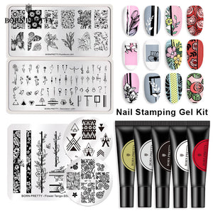 BORN PRETTY Gel Nail Polish Nail Art Stamping Gel Kit with Nail Stamp Plates 8ml Colorful Nails Decorations Printing Gel Polish