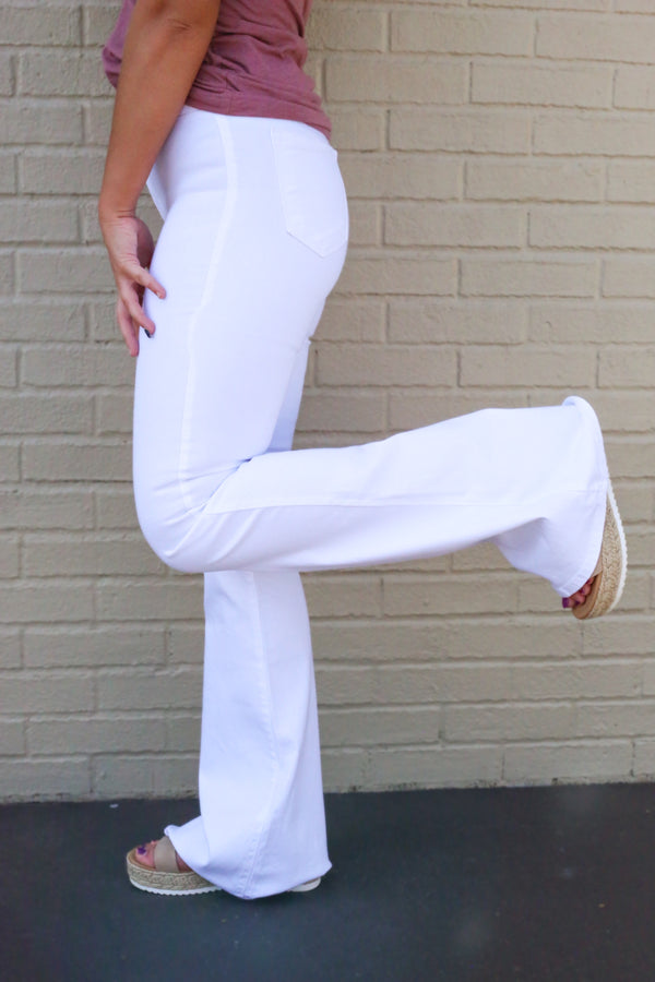Stacy White High Rise Flare Jeans
