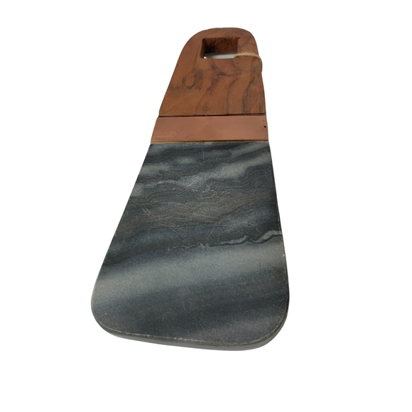 Artisan's Marble & Wood Paddle Cutting Board with Copper Strip
