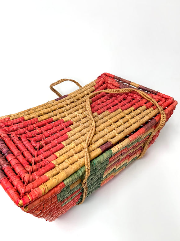 Multi-Colored Ethnic Straw & Reams Picnic Basket
