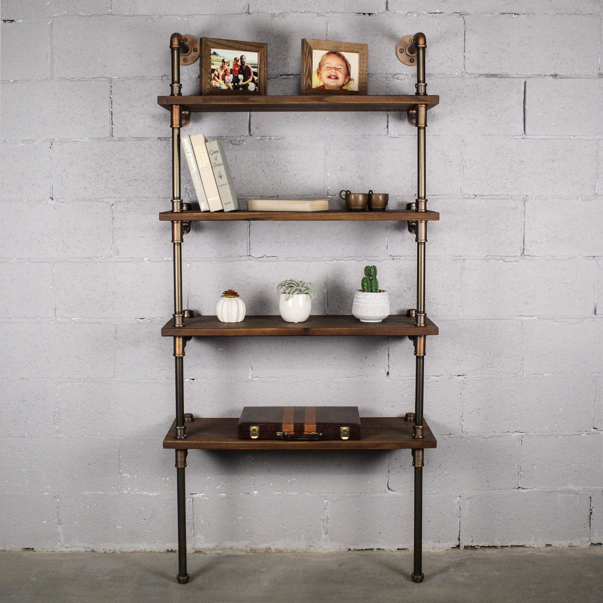 Industrial Chic 33 Inch Wide Espresso 4 Tier Etagere Display