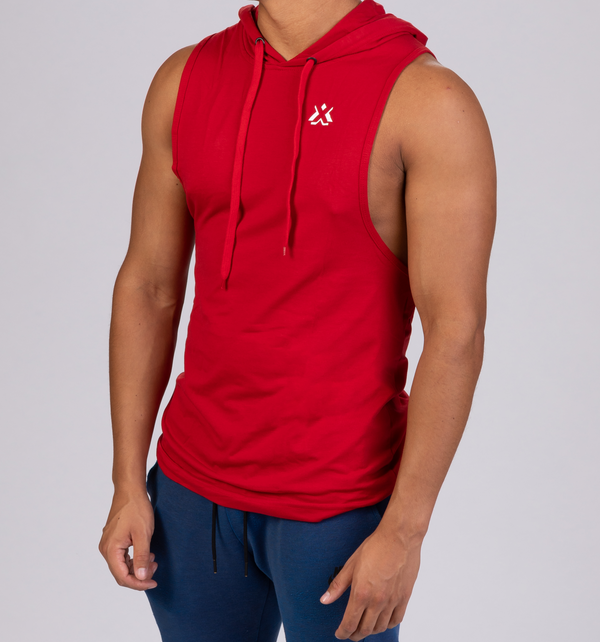 Essential Sleeveless Hoodie Red