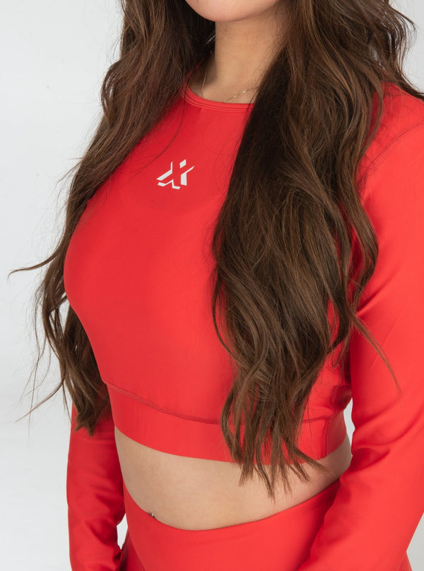 Energy Crop Top Long Sleeve Red