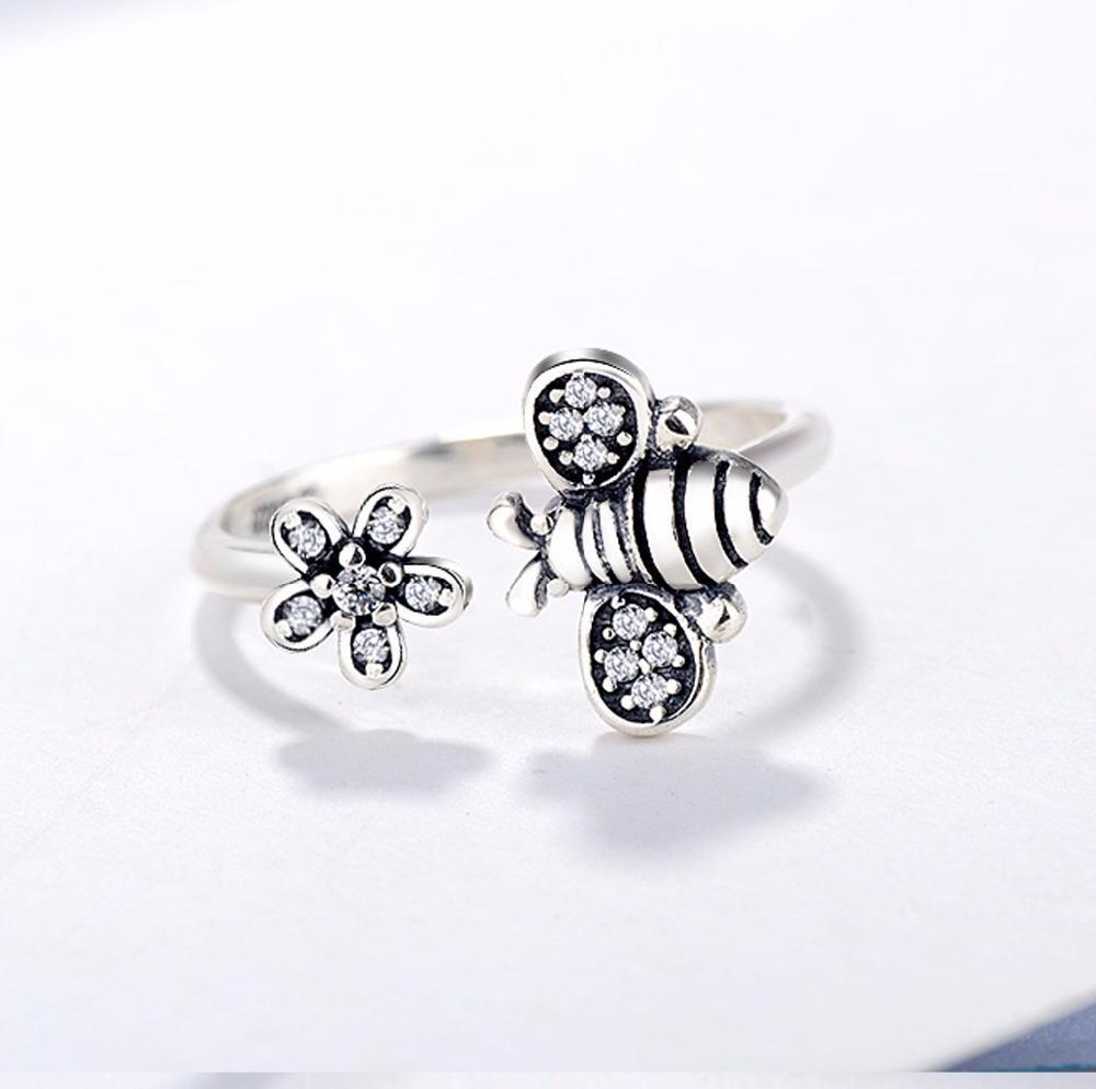 Limited Edition Sterling Silver Honeybee And Flower Ring