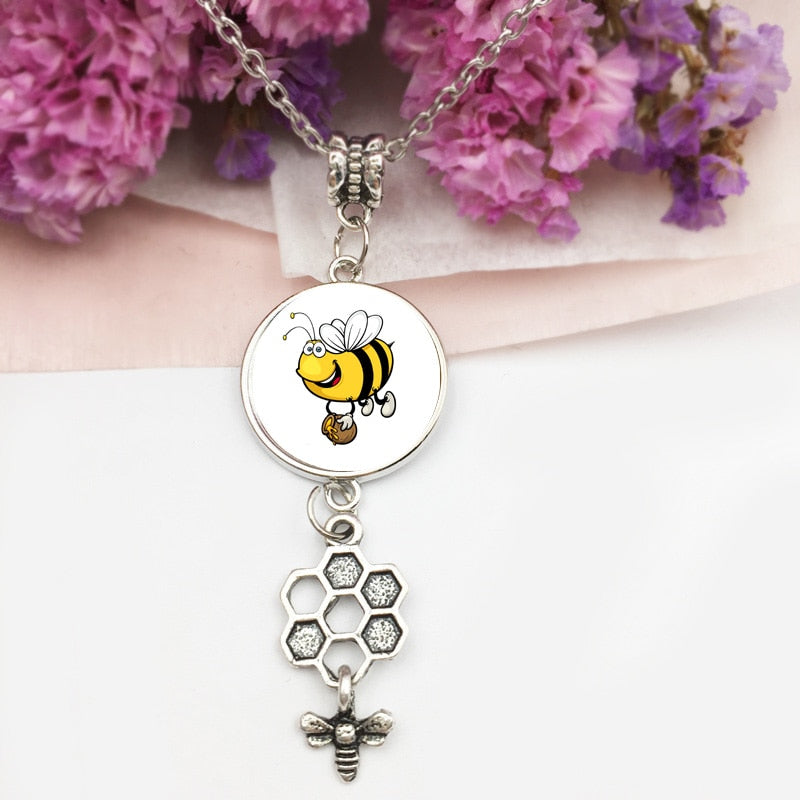 Glass Beehive and Bee Necklace