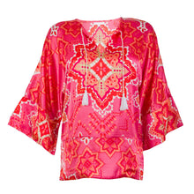 Load image into Gallery viewer, Asia Top made of 100% Japanese Satin. Pocket Tunic with Kimono Sleeves and Tassel Closure