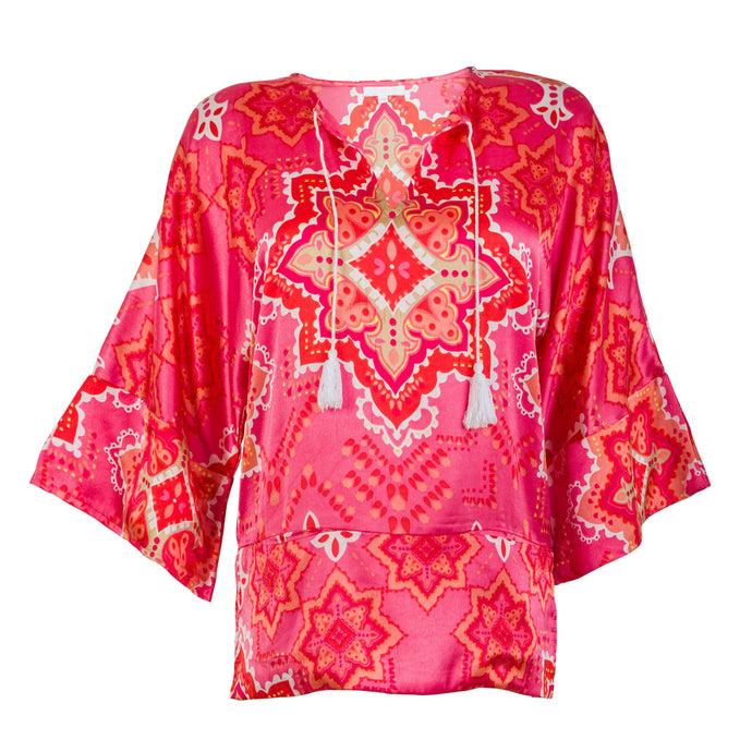 Asia Top made of 100% Japanese Satin. Pocket Tunic with Kimono Sleeves and Tassel Closure