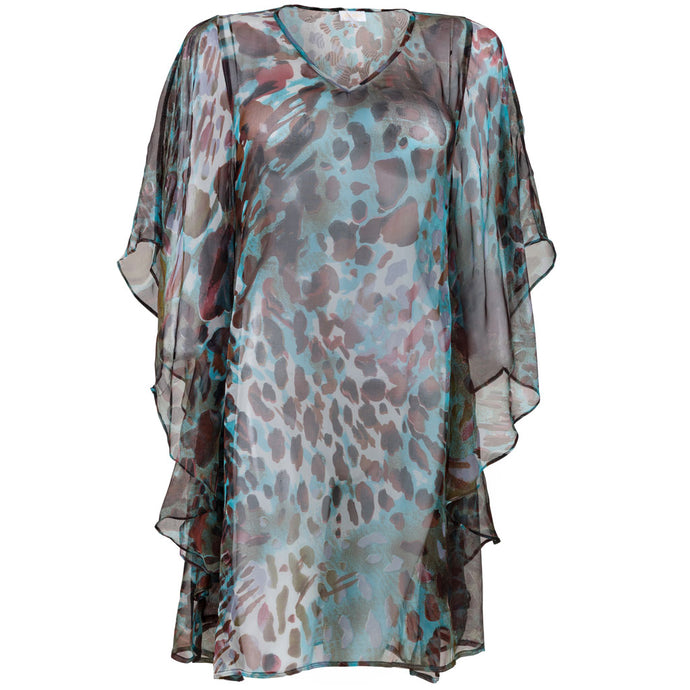 Josee Caftan Blue & Brown Animal
