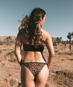 Noa Kai Elle Adjustable Strap Bikini Bottom in Leopard and Black