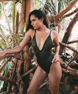 Noa Kai Gisele One Piece in Green and Black