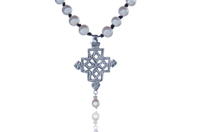 Julie Miles Coptic Cross Pearl Necklace
