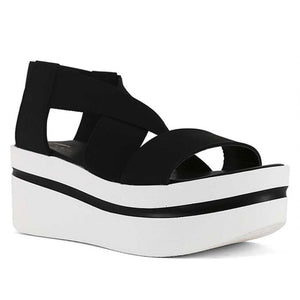 Black and White Wedge Sandal