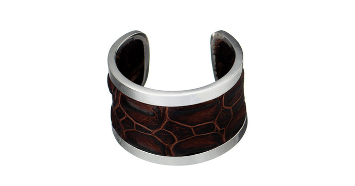 Julie Miles Crocodile Sterling Silver Cuff