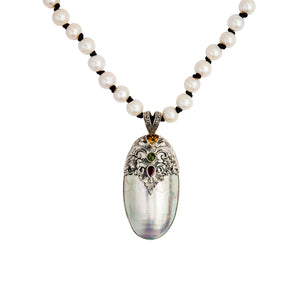Julie Miles Bejeweled Balinese Sterling Silver Shell Pendant & Pearl Necklace