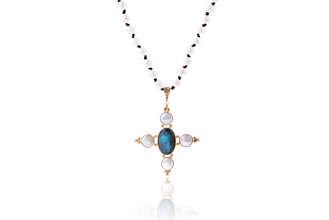 Julie Miles KAS Labradorite Pearl Cross Necklace