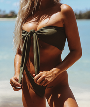 Load image into Gallery viewer, Noa Kai Mira Reversible Bandeau Bikini Top in Forest Green