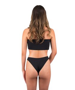 Mira High Cut Bikini Bottom in Midnight Black